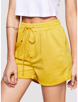 rolled-hem-marled-knit-shorts by sheinside