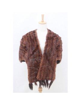vintage---luxurious---genuine---dark---brown---fur---detachable---tails---wrap---stole---cape---coat---aus-10-12-14---s-m-l by etsy