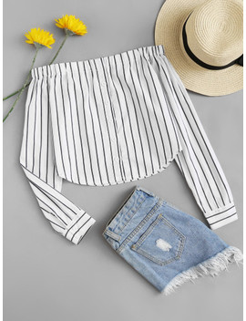 off-shoulder-single-breasted-striped-top by sheinside