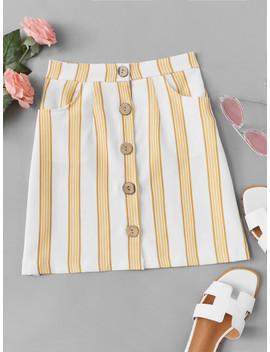 striped-button-through-skirt by sheinside
