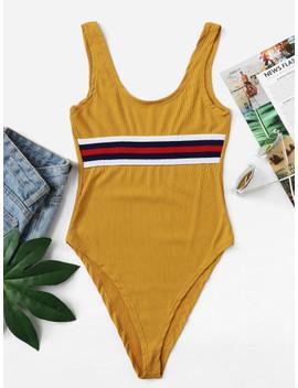 stripe-print-ribbed-tank-bodysuit by shein