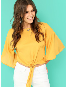 knot-front-flounce-sleeve-top by shein