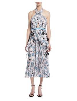 cross-front-pleated-floral-halter-dress by self-portrait
