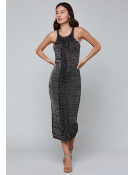 Metallic Knit Midi Dress by Bebe