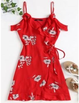 cold-shoulder-ruffle-mini-wrap-dress---love-red-s by zaful