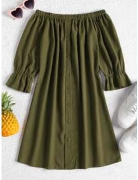 buttons-off-shoulder-casual-dress---army-green-m by zaful