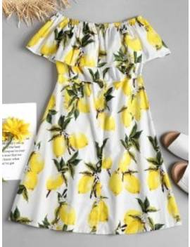lemon-ruffle-off-the-shoulder-midi-dress---white-m by zaful