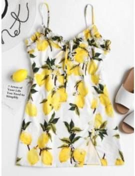 mini-lemon-print-cami-dress---yellow-m by zaful