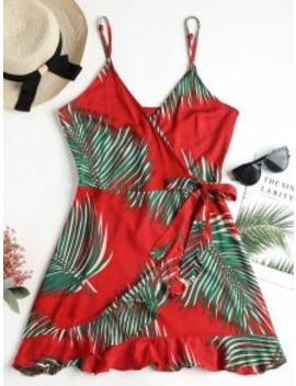 palm-leaf-print-cami-wrap-dress---red-s by zaful
