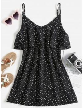 polka-dot-flounce-slip-dress---black-l by zaful