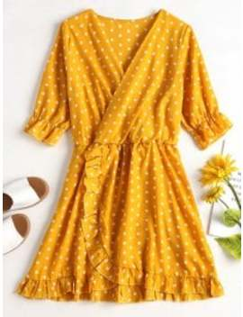 ruffle-polka-dot-mini-faux-wrap-dress---yellow-m by zaful