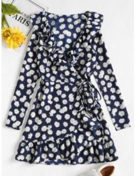 daisy-print-ruffle-mini-wrap-dress---midnight-blue-s by zaful