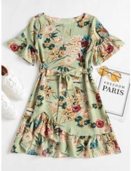 floral-ruffle-hem-shift-dress---frog-green-m by zaful