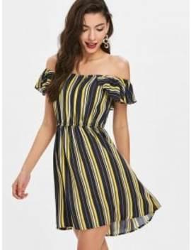 flounced-off-shoulder-striped-dress---multi-s by zaful