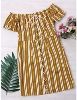 striped-lace-up-dress---yellow-m by zaful