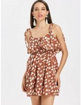 heart-print-tie-strap-ruffle-mini-dress---chestnut-m by zaful
