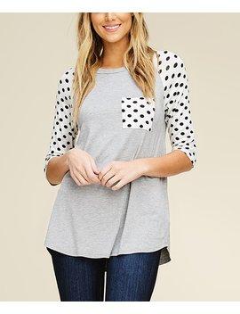 heather-gray-polka-dot-pocket-raglan-top---women by annabelle-usa