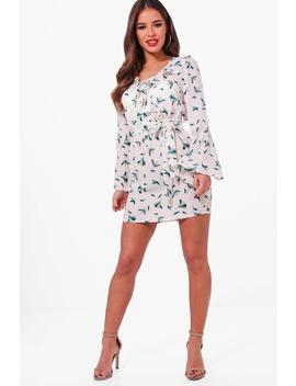 petite-floral-wrap-front-woven-dress by boohoo
