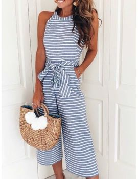 uk-ladies-women-summer-jumpsuit-halterneck-clubwear-wide-leg-pant-stripe-outfits by ebay-seller