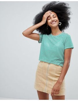 monki-stripe-cropped-tee-in-green-and-white by monki