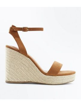tan-suedette-ankle-strap-espadrille-wedges by new-look