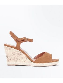 wide-fit-tan-suedette-peep-toe-wedges by new-look