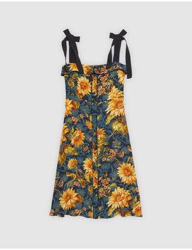 robe-mi-longue-en-soie-imprimé-fleuri by sandro-paris