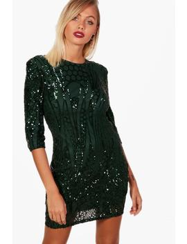 boutique-sequin-power-shoulder-dress by boohoo