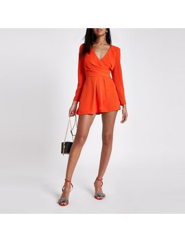 red-v-neck-wrap-playsuit by river-island