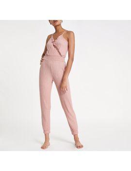 pink-marl-rib-frill-wrap-jumpsuit by river-island