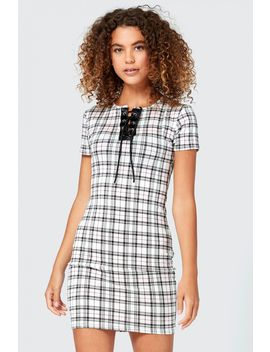 lattice-check-bodycon-dress by select