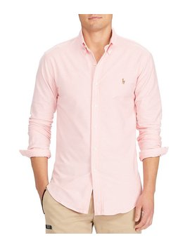 Slim Fit Solid Stretch Oxford Long Sleeve Woven Shirt by Generic