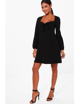 tie-front-blouson-sleeve-skater-dress by boohoo