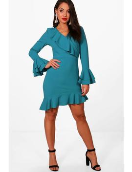 ruffle-flared-sleeve-asymmetric-tea-dress by boohoo