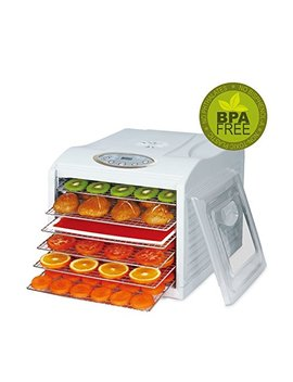 biochef-arizona-sol-food-dehydrator-6-x-bpa-free-stainless-steel-drying-trays-&-digital-timer---includes:-1-x-non-stick-&-1-x-fine-mesh-sheet-&-drip-tray-best-drier-for-raw-food,-fruit,-jerky-(white) by bio-chef