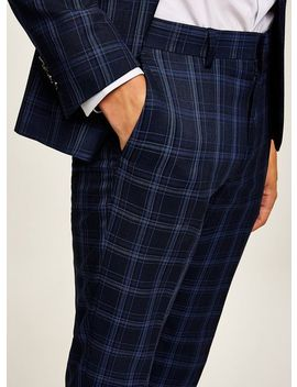 blue-check-skinny-trousers by topman