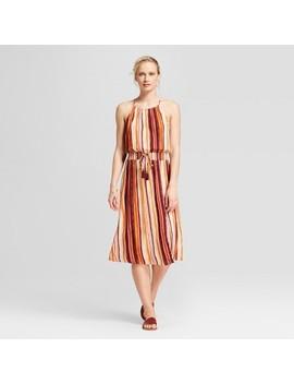 womens-strappy-striped-high-neck-maxi-dress-with-slit---xhilaration by xhilaration
