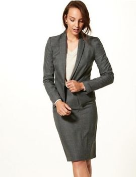 checked-blazer-&-a-line-mini-skirt-suit-set by marks-&-spencer