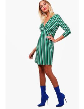 stripe-twist-knot-front-shift-dress by boohoo