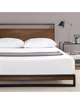 zinus-ironline-metal-and-wood-platform-bed-with-headboard-_-box-spring-optional-_-wood-slat-support,-queen by zinus