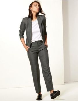 Checked Blazer &Amp; Straight Leg Trousers by Marks & Spencer