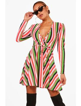 colourful-stripe-skinny-tie-skater-dress by boohoo