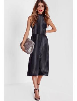 navy-high-neck-pinstripe-culotte-jumpsuit by missguided