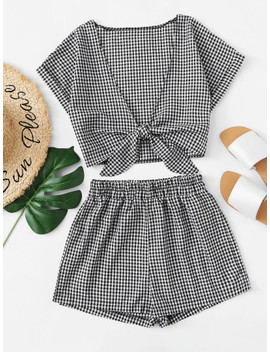 tie-front-gingham-top-with-shorts by sheinside