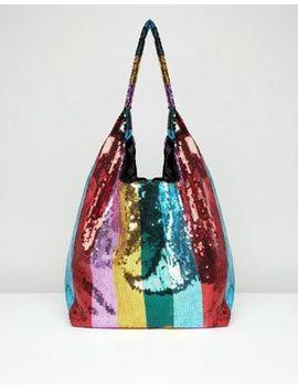 asos-design-sequin-stripe-shopper-bag by asos-design