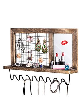 sriwatana-jewelry-wall-organizer,-metal-wood-wall-mount-jewelry-holder,-necklace,-earrings,-rings,-lipstick-holder-organizer-with-makeup-mirror by sriwatana