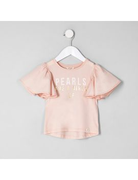 mini-girls-pink-'pearls'-frill-sleeve-t-shirt by river-island