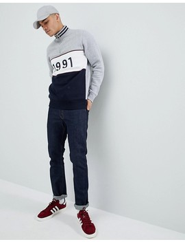 boohooman-funnel-neck-sweatshirt-with-1991-embroidery-in-grey by boohooman