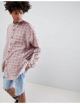 asos-design-oversized-drop-shoulder-longline-check-shirt-in-bleach-wash by asos-design