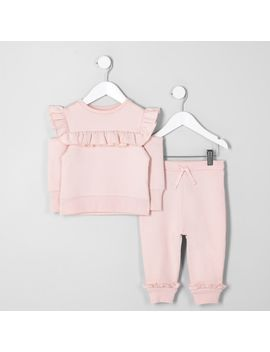 mini-girls-pink-frill-sweatshirt-outfit by river-island